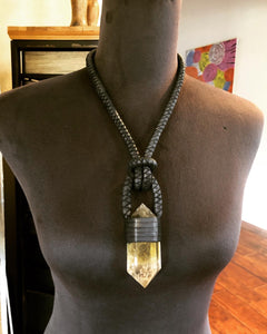Black Leather Rope & Smokey Citrine Necklace