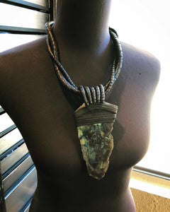 Black Leather Twisted Rope & Labradorite Necklace (SALE)