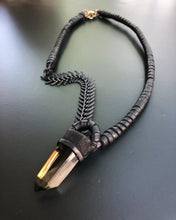 Load image into Gallery viewer, Black Chain & Smokey Quartz Necklace w/ Leather