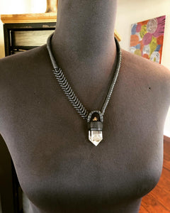Chain & Smokey Quartz Necklace w/ Leather