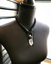 Load image into Gallery viewer, Black Leather & Quartz Necklace