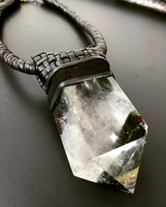 Black Leather & Garden Quartz Necklace w/ Lattice