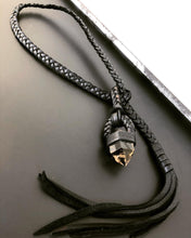 Load image into Gallery viewer, Black Leather & Smokey Citrine Lariat (SALE)