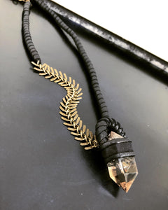 Leather & Crystal Necklace w/ Brass Chain