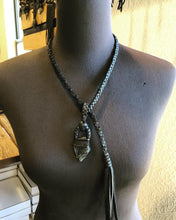 Load image into Gallery viewer, Black Leather & Labradorite Lariat