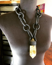 Load image into Gallery viewer, Black Leather Chain & Smokey Citrine Necklace