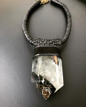 Load image into Gallery viewer, Black Leather & Garden Quartz Necklace w/ Lattice