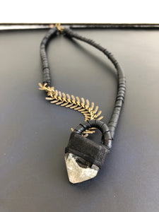 Brass Chain & Quartz Necklace w/ Leather