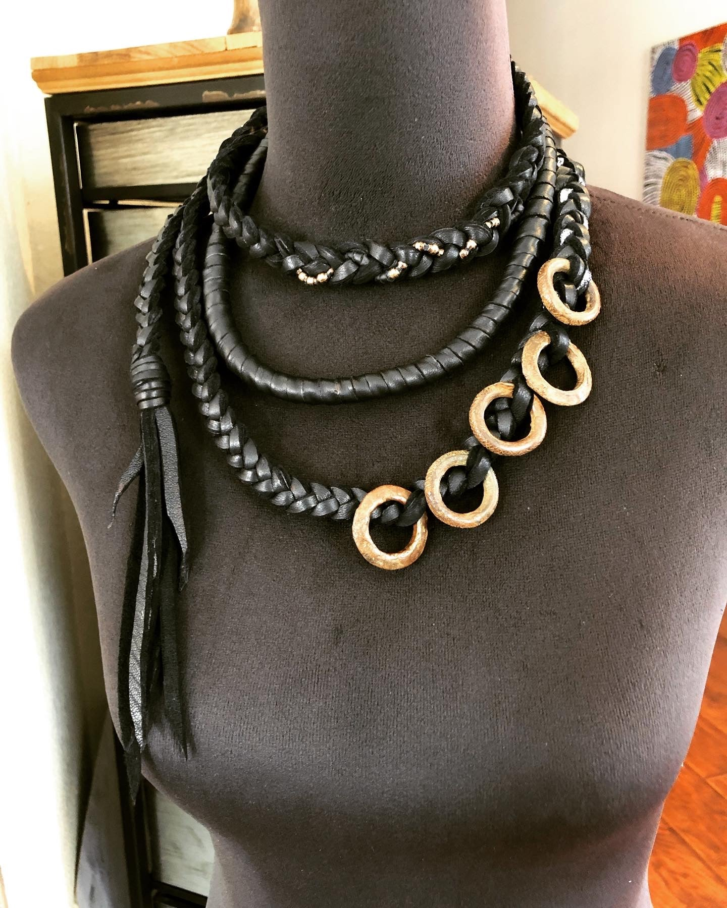 Black Leather Wrap Necklace w/ Brass Rings