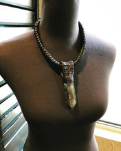 Load image into Gallery viewer, Black Leather Lattice & Labradorite Necklace