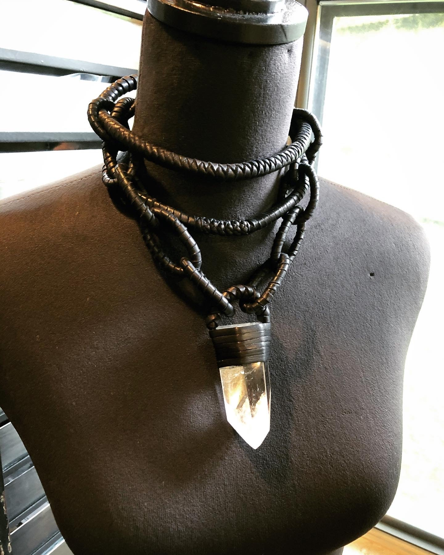 Leather Chain & Crystal Choker Necklace
