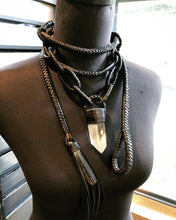 Load image into Gallery viewer, Leather Chain & Crystal Choker Necklace