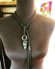 Load image into Gallery viewer, Labradorite & Leather Lariat w/ Brass Ring