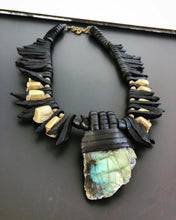 Load image into Gallery viewer, Black Leather Fringe & Labradorite Necklace w/ Beads(SALE)