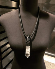 Load image into Gallery viewer, Black Leather & Crystal Necklace