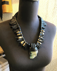 Black Leather Fringe & Labradorite Necklace w/ Beads(SALE)