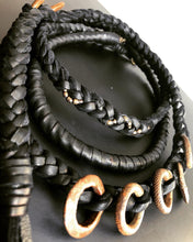 Load image into Gallery viewer, Black Leather Wrap Necklace w/ Brass Rings
