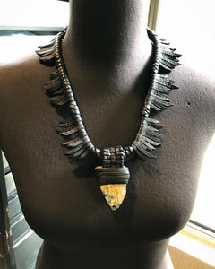 Leather Fringe & Labradorite Necklace