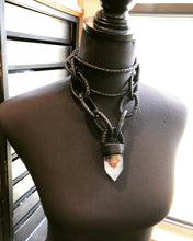 Load image into Gallery viewer, Leather Chain & Crystal Necklace