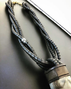 Black Leather Twisted Rope Necklace w/ Labradorite
