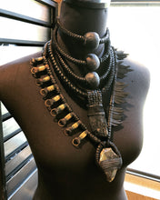 Load image into Gallery viewer, Black Leather Tiered Choker w/ Beads (SALE)
