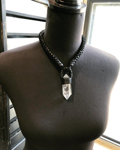 Black Leather & Quartz Necklace