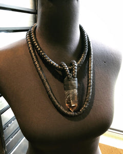 Crystal & Interchangeable Leather Rope Necklace