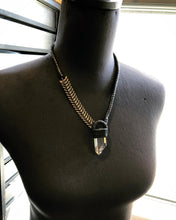 Load image into Gallery viewer, Antique Brass Chain & Citrine Necklace w/ Leather