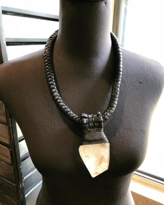 Leather Lattice & Crystal Necklace