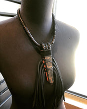 Load image into Gallery viewer, Black Leather Fringe & Tourmaline Necklace