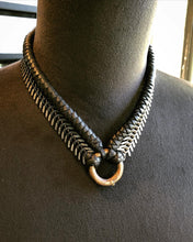 Load image into Gallery viewer, Leather & Chain Choker / Silver Tone (SALE)