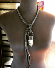 Load image into Gallery viewer, Black Leather Lariat w/ Quartz (tourmaline)
