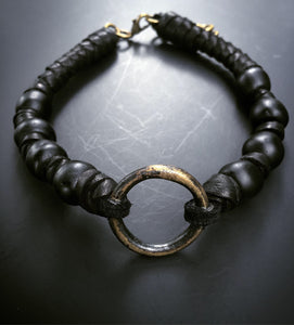 Leather & Bead O-Ring Choker (SALE)