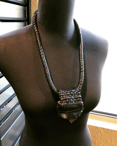 Black Leather Lattice & Smokey Quartz Necklace