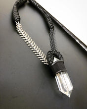 Load image into Gallery viewer, Leather & Quartz Necklace w/ Chain