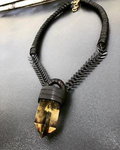 Smokey Citrine & Chain Necklace w/ Leather