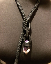 Load image into Gallery viewer, Black Leather Loop Lariat w/ Chevron Amethyst