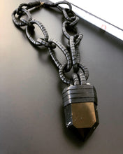 Load image into Gallery viewer, Black Leather Chain & Smokey Quartz Necklace