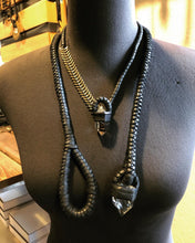 Load image into Gallery viewer, Leather & Crystal Necklace w/ Brass Chain