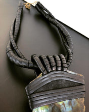 Load image into Gallery viewer, Black Leather Twisted Rope & Labradorite Necklace (SALE)
