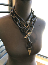 Load image into Gallery viewer, Leather Chain Lariat w/ Mahogany Obsidian