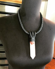 Load image into Gallery viewer, Black Leather & Harlequin Quartz Necklace