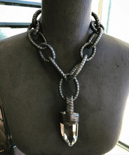 Load image into Gallery viewer, Leather Chain & Quartz Necklace