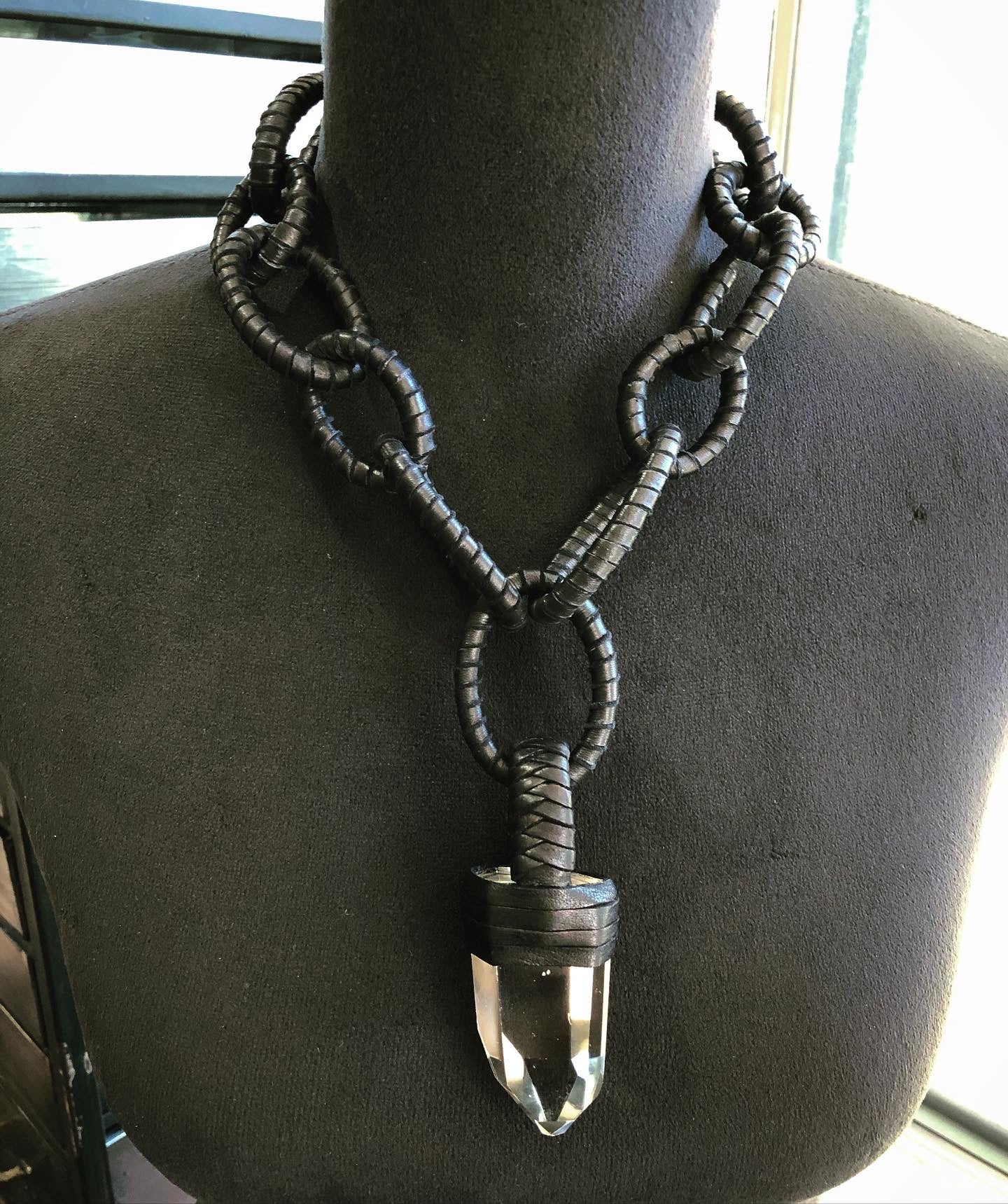Leather Chain & Quartz Necklace