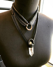 Load image into Gallery viewer, Leather & Chain Choker / Silver Tone