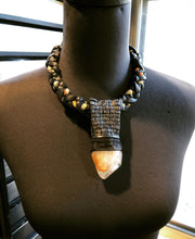 Load image into Gallery viewer, Black Leather & Vintage Silk Necklace w/ Quartz