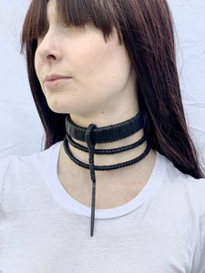 Black Leather Tiered Metal Point Choker