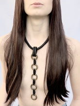 Load image into Gallery viewer, Black Leather & Brass Ring Necklace