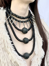 Load image into Gallery viewer, Leather & Bead Tiered Necklace