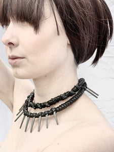 Leather & Vintage Spike Choker Necklace (SALE)